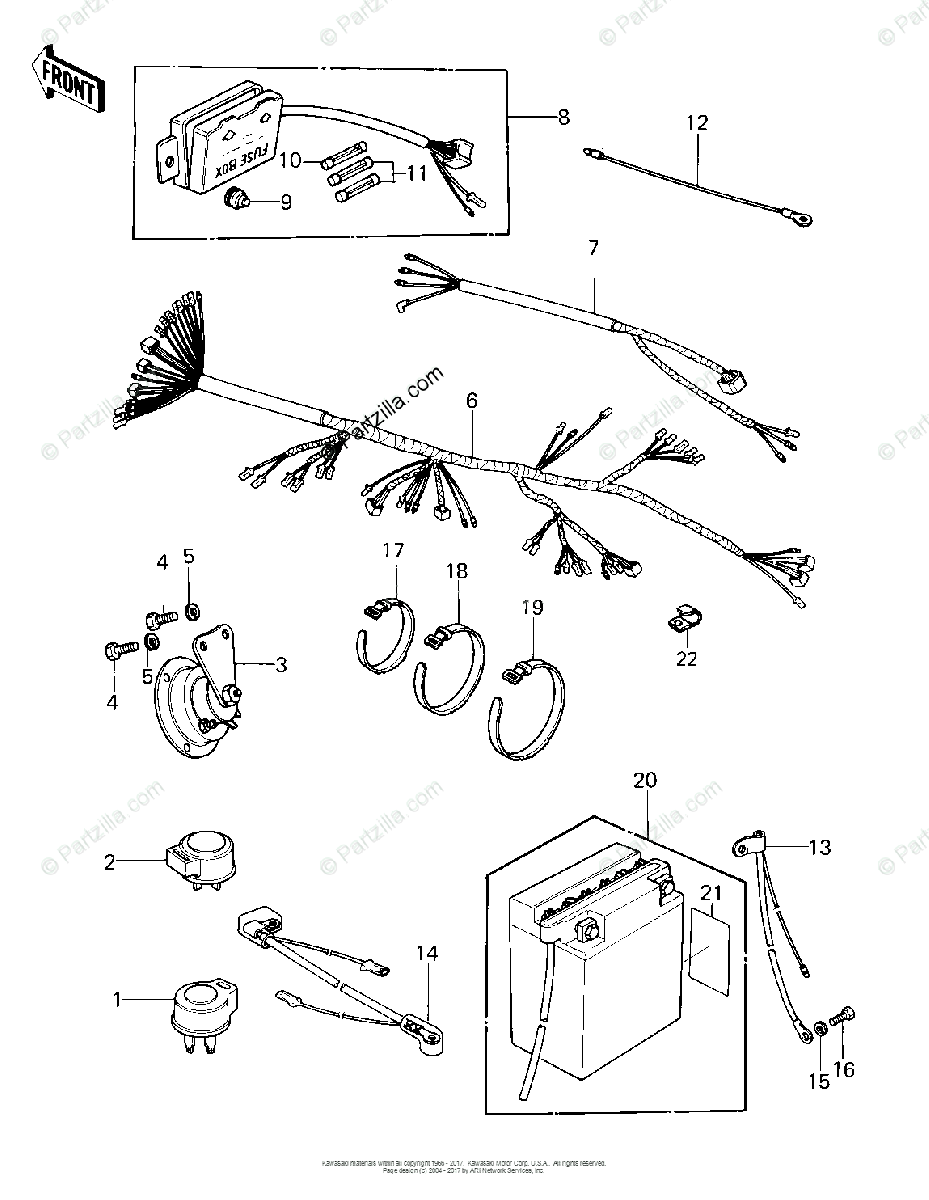 Kawasaki Motorcycle 1981 OEM Parts Diagram for CHASSIS