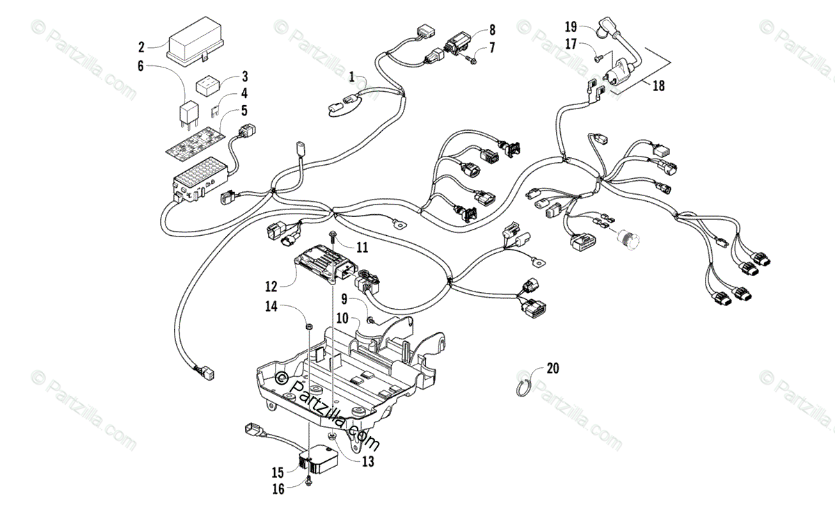 Arctic Cat ATV 2014 OEM Parts Diagram for Wiring Harness