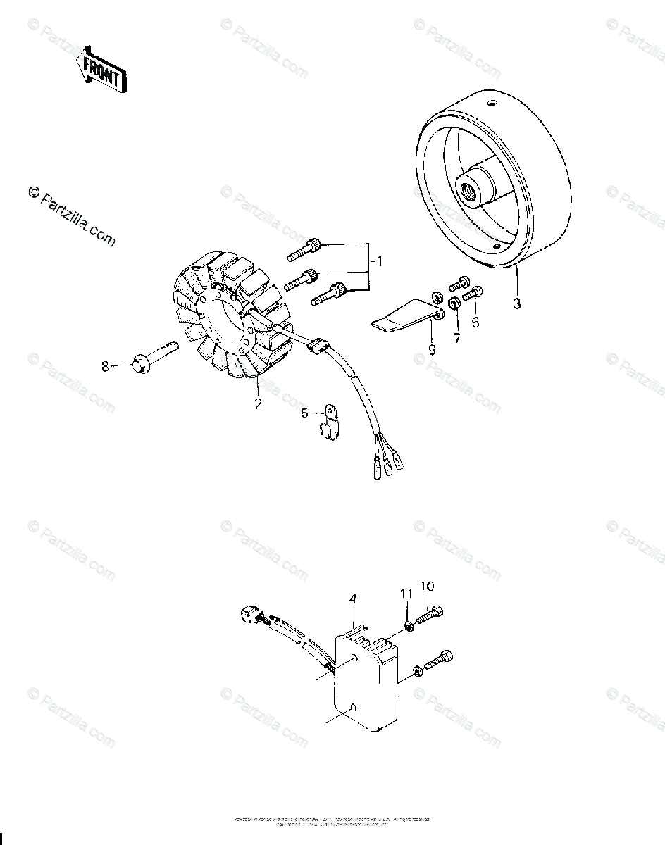 Kawasaki Motorcycle 1980 OEM Parts Diagram for GENERATOR