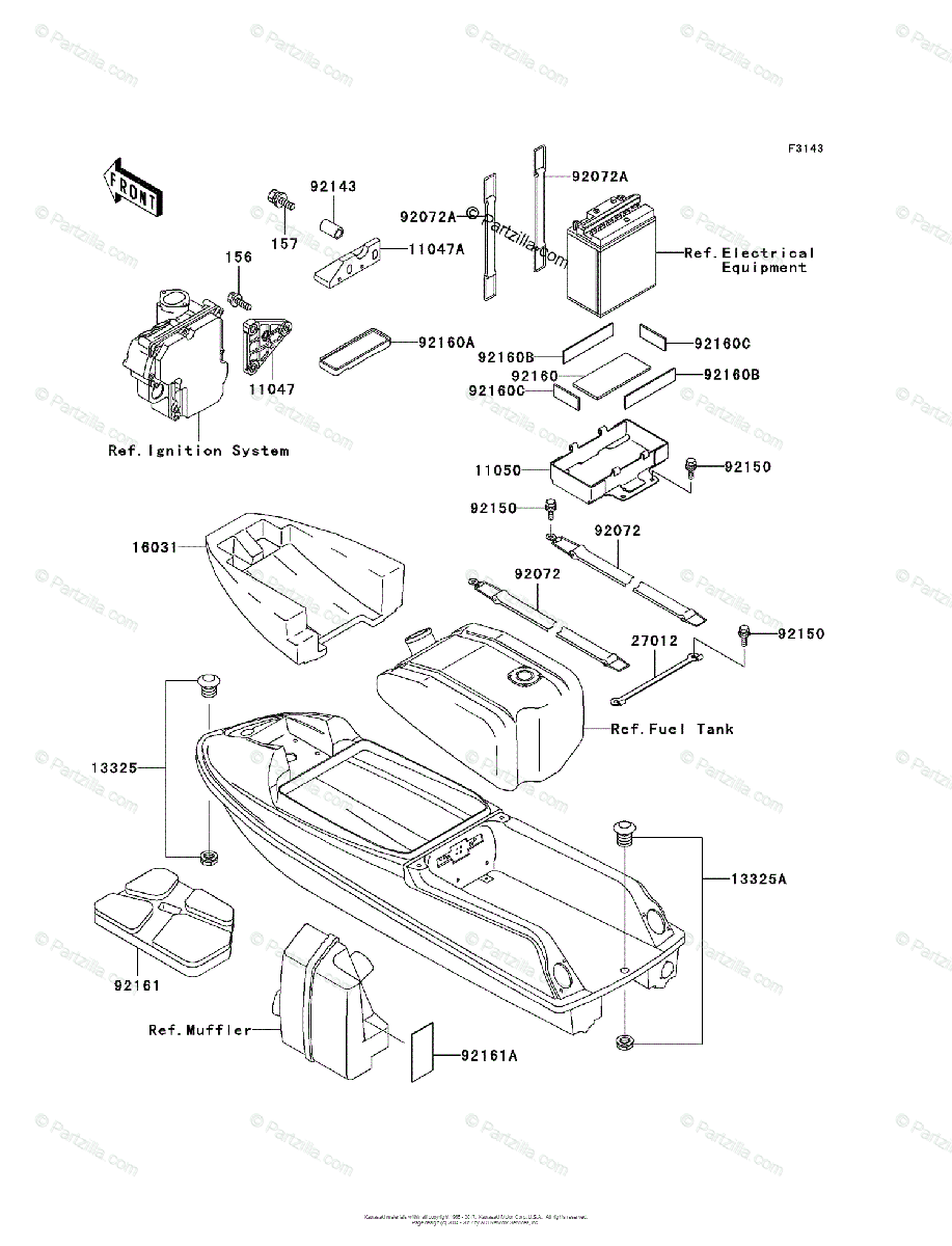 Kawasaki Jet Ski 1998 OEM Parts Diagram for Hull Fittings