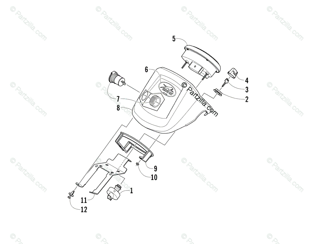 Arctic Cat ATV 2014 OEM Parts Diagram for Instrument Pod