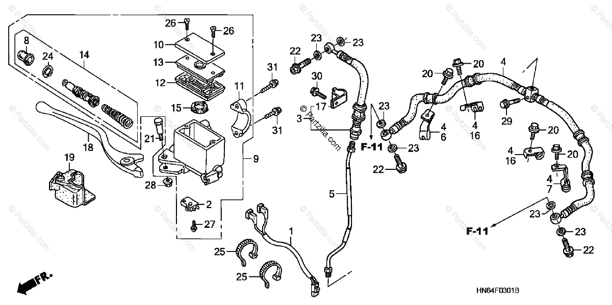 Honda ATV 2007 OEM Parts Diagram for Front Brake Master