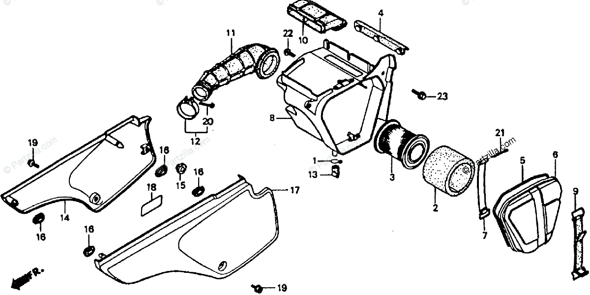 Honda Motorcycle 1991 OEM Parts Diagram for Air Cleaner