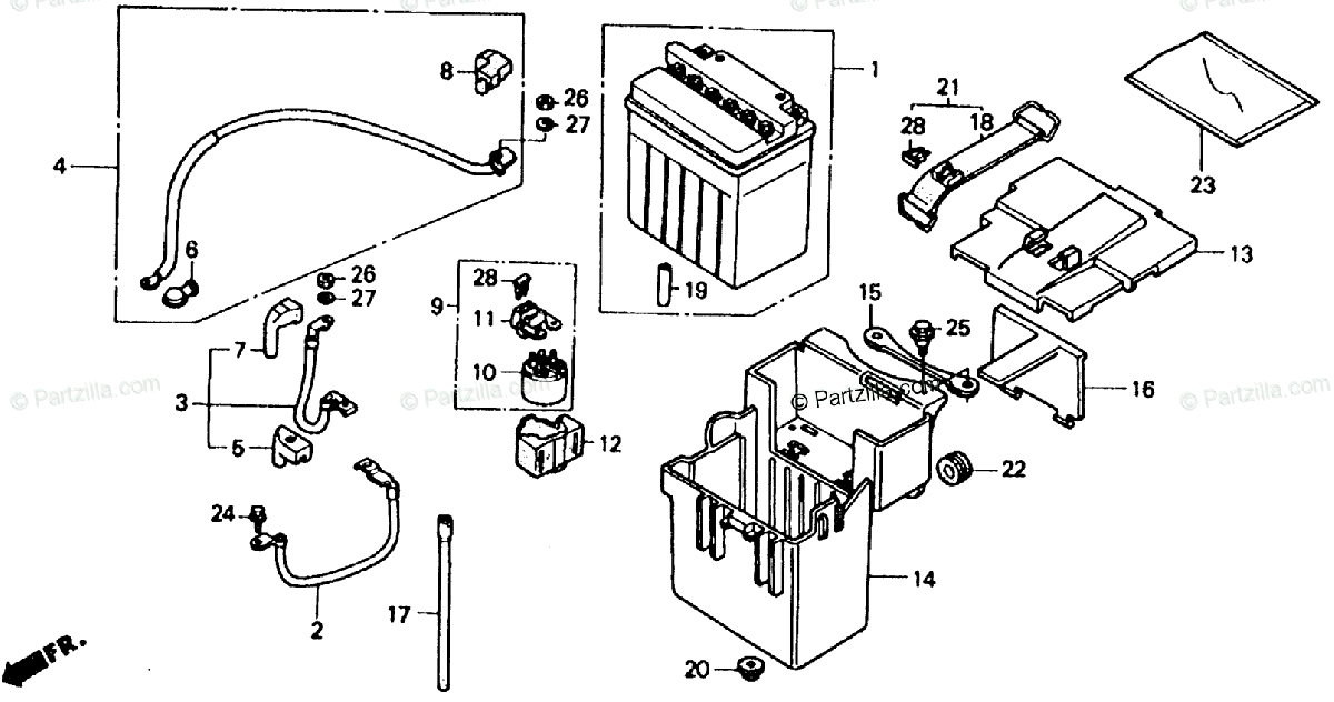 Honda Motorcycle 1990 OEM Parts Diagram for Battery
