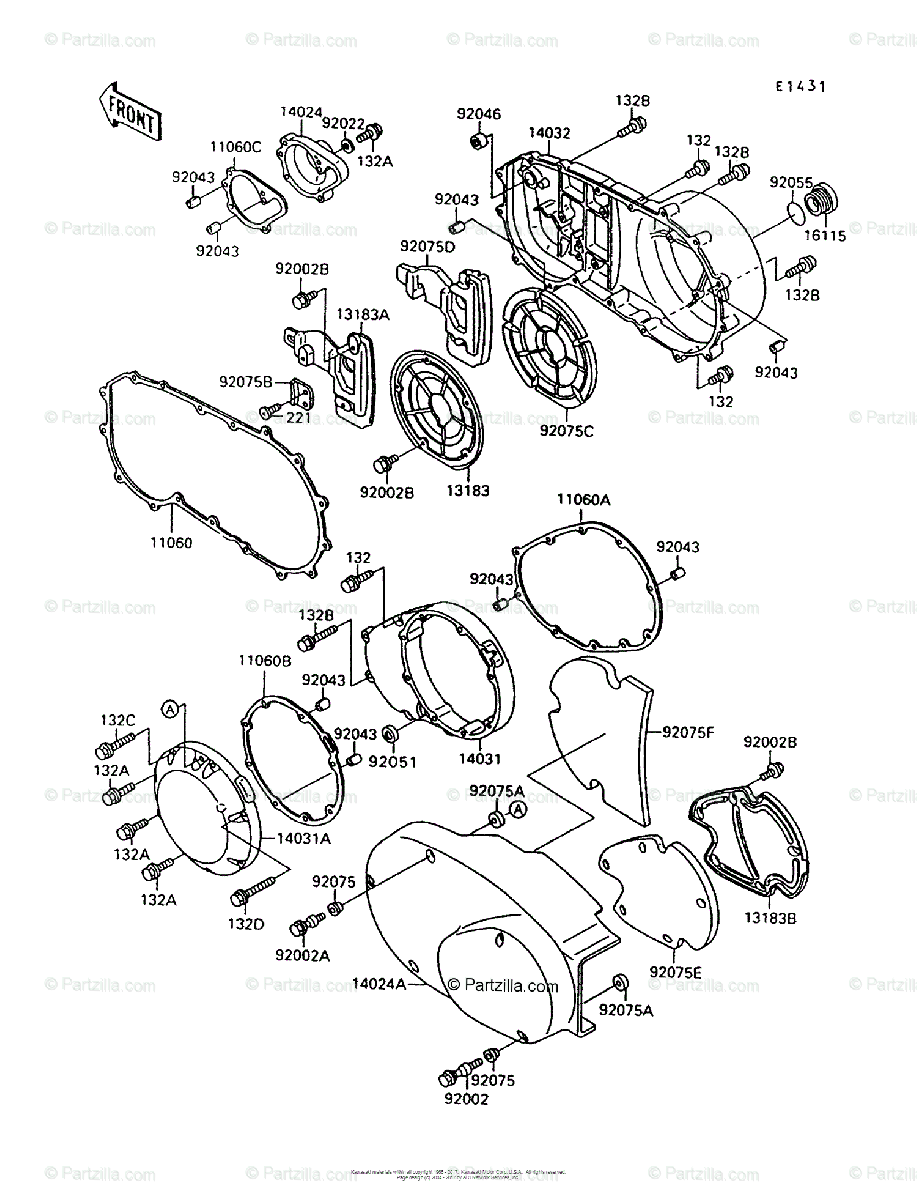 Kawasaki Motorcycle 1998 OEM Parts Diagram for Engine