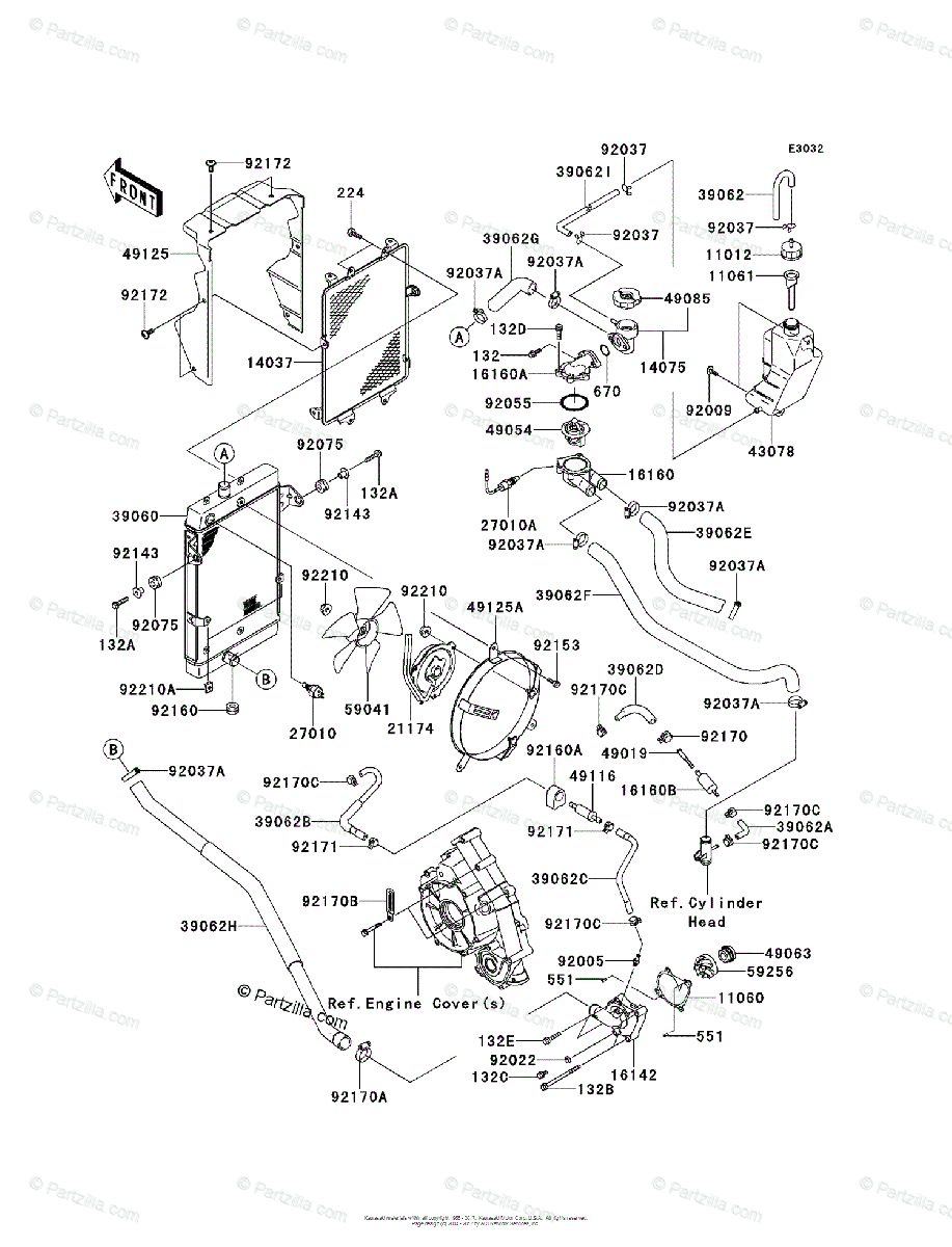 Kawasaki ATV 2007 OEM Parts Diagram for Radiator