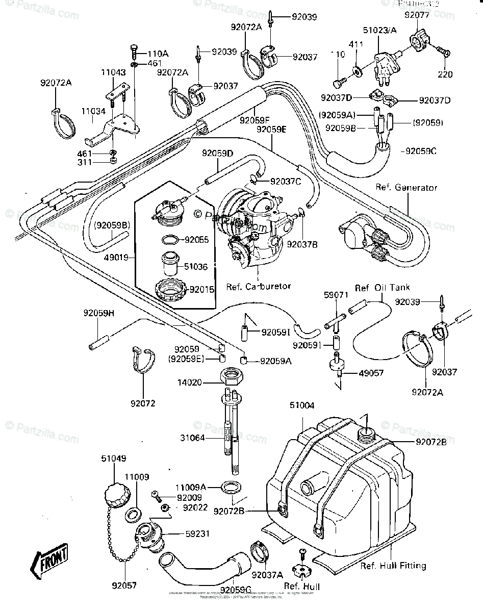 Kawasaki Jet Ski 1986 OEM Parts Diagram for Fuel Tank