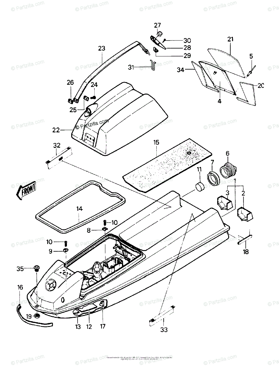 Kawasaki Jet Ski 1989 OEM Parts Diagram for Hull/Engine