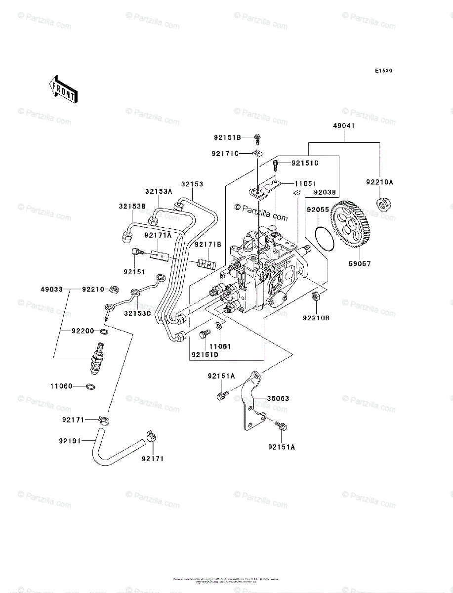 Kawasaki Side by Side 2012 OEM Parts Diagram for Fuel