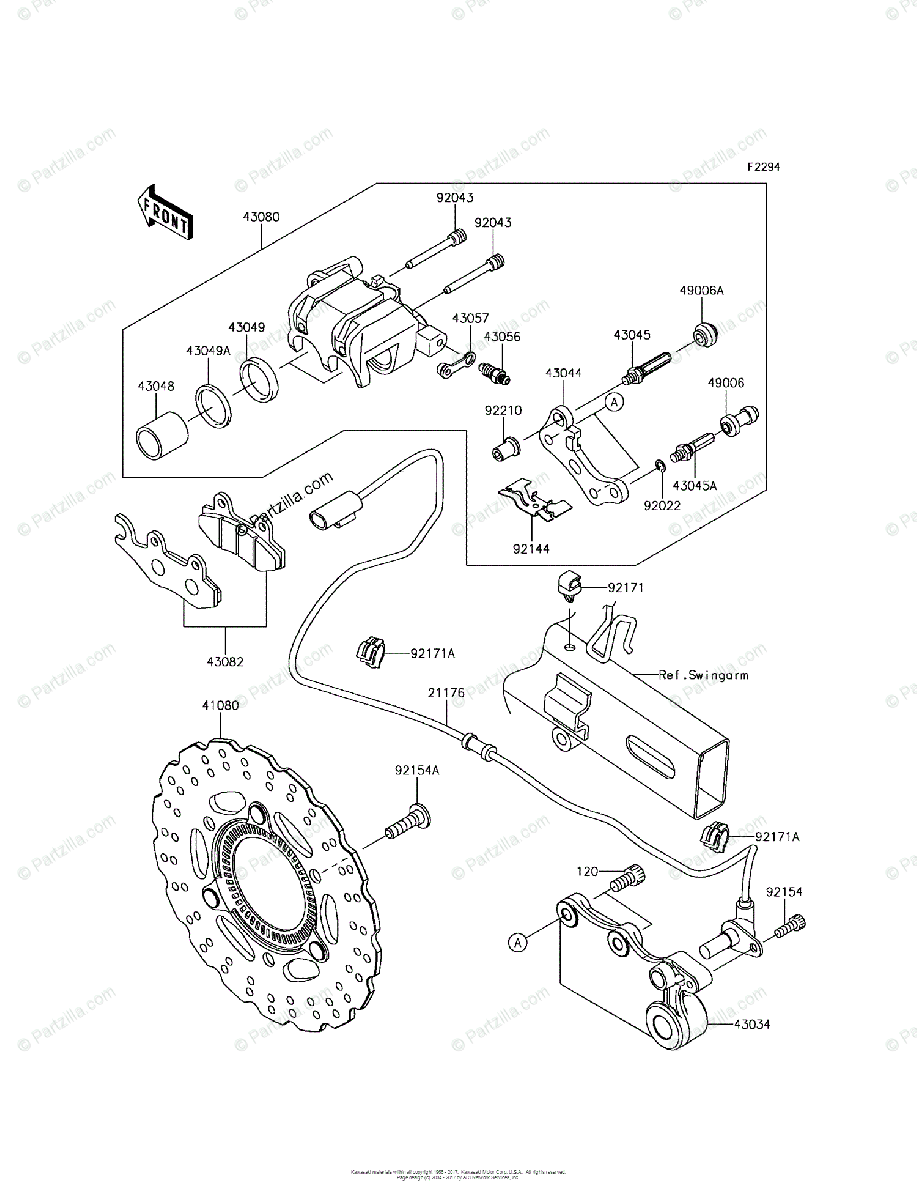 Kawasaki Motorcycle 2017 OEM Parts Diagram for Rear Brake