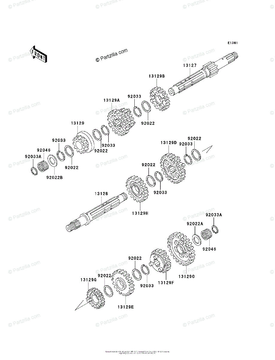 Kawasaki ATV 1998 OEM Parts Diagram for Transmission
