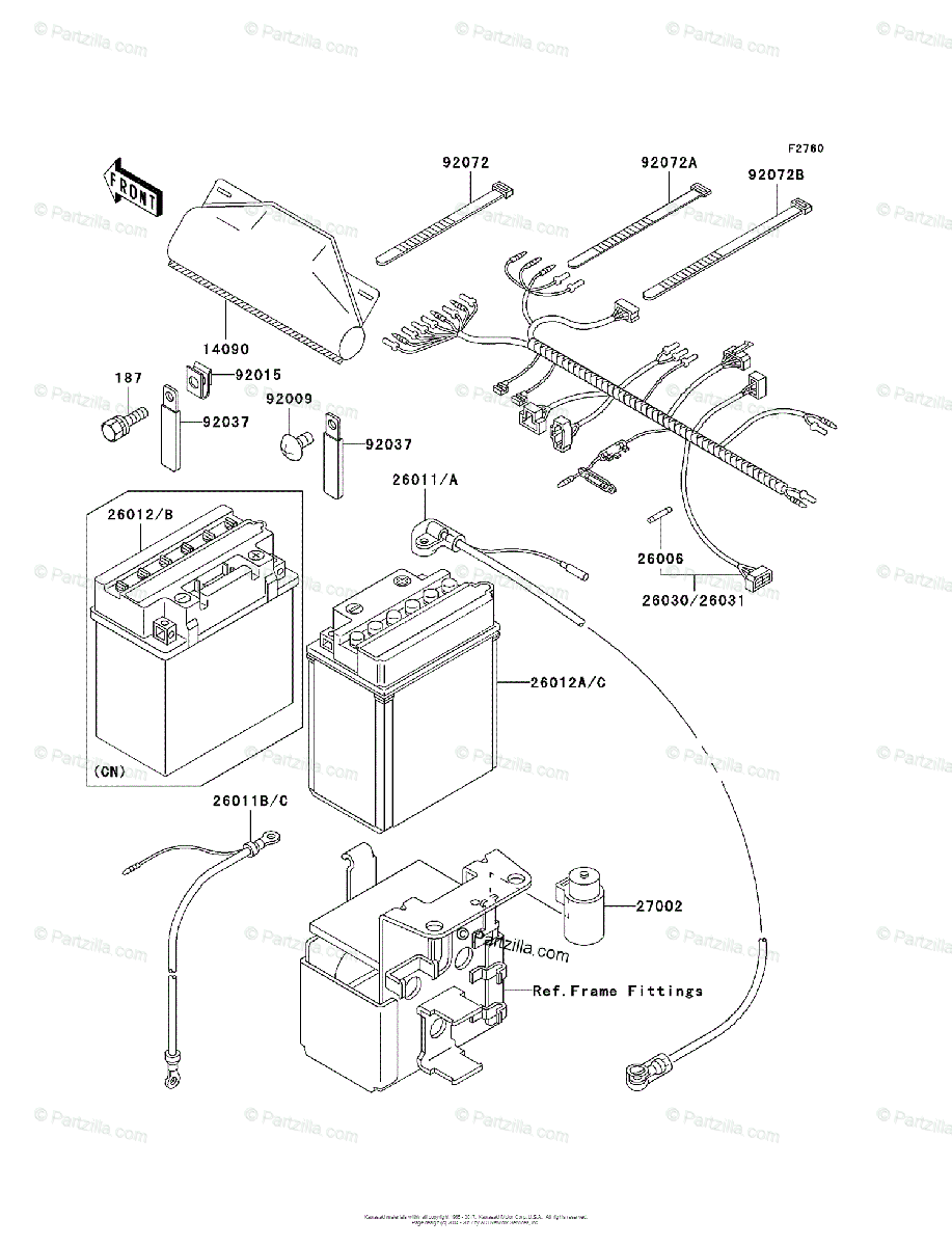 Kawasaki ATV 2003 OEM Parts Diagram for Chassis Electrical