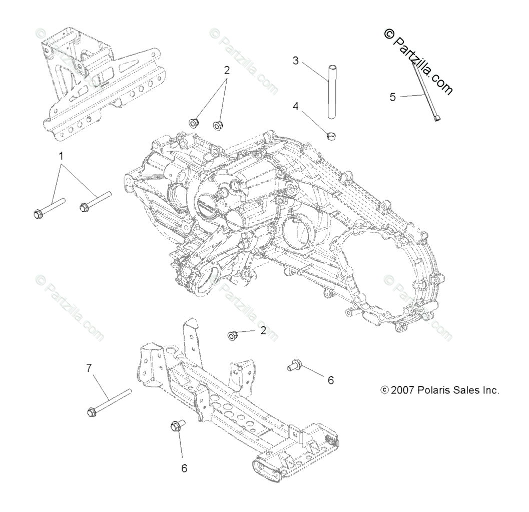 Polaris ATV 2009 OEM Parts Diagram for Drive Train, Main