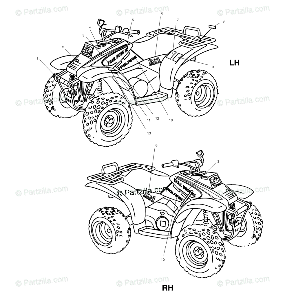 Polaris ATV 2001 OEM Parts Diagram for Decals A01aa32aa