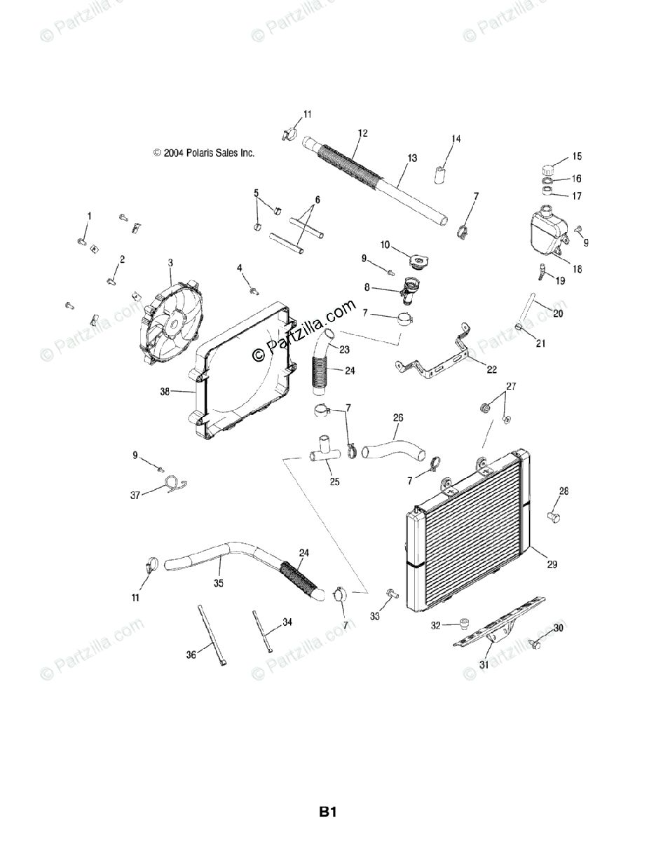 Polaris ATV 2005 OEM Parts Diagram for Cooling System /As