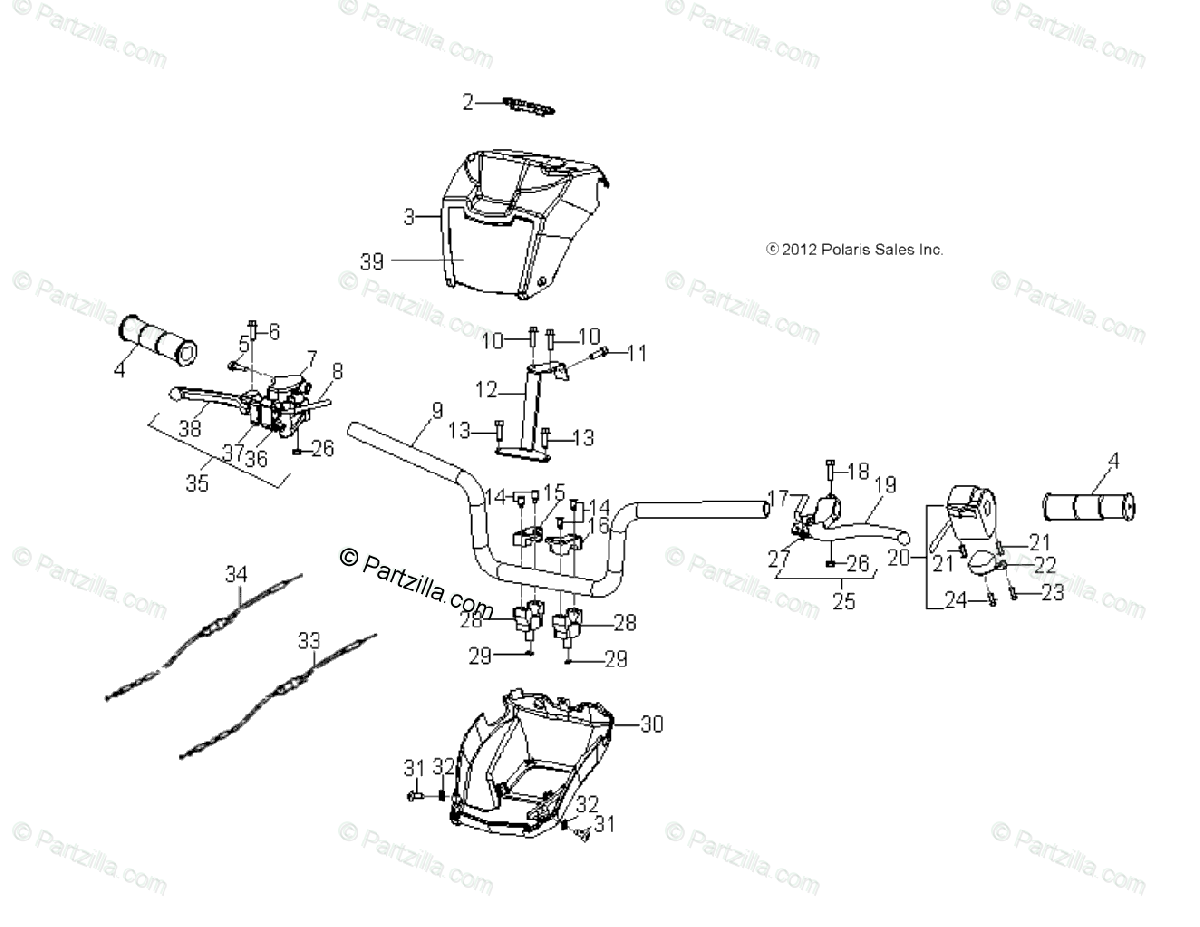 Polaris ATV 2014 OEM Parts Diagram for Steering, Handlebar