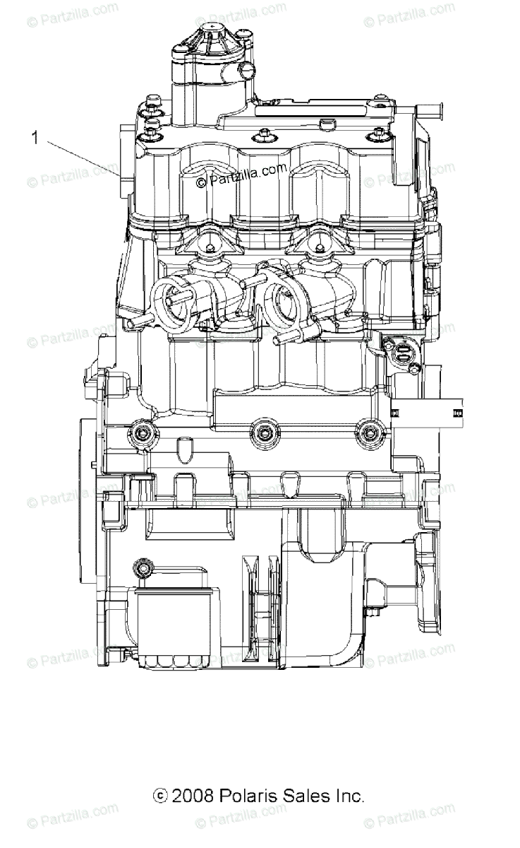 Polaris ATV 2009 OEM Parts Diagram for Engine, Short Block