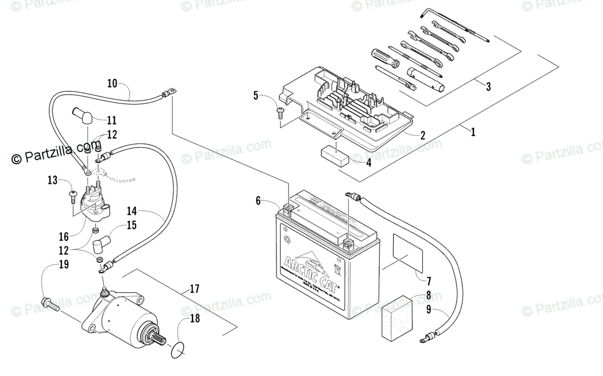 Arctic Cat ATV 2010 OEM Parts Diagram for Battery And