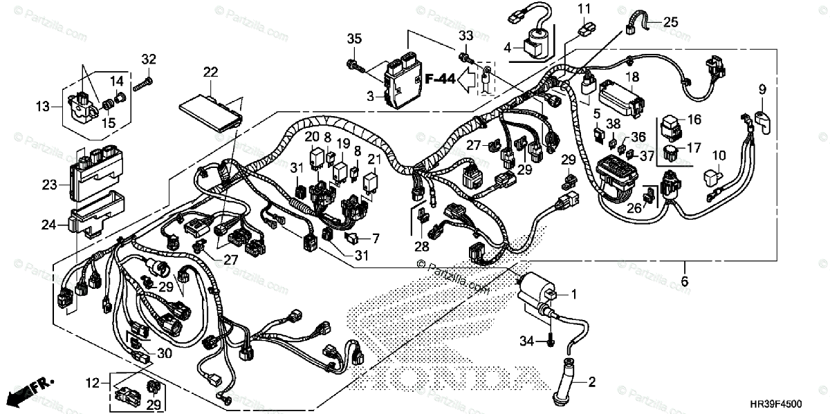 Honda ATV 2017 OEM Parts Diagram for Wire Harness