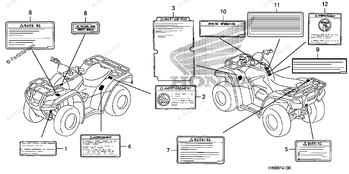Honda ATV 2011 OEM Parts Diagram for Caution Label