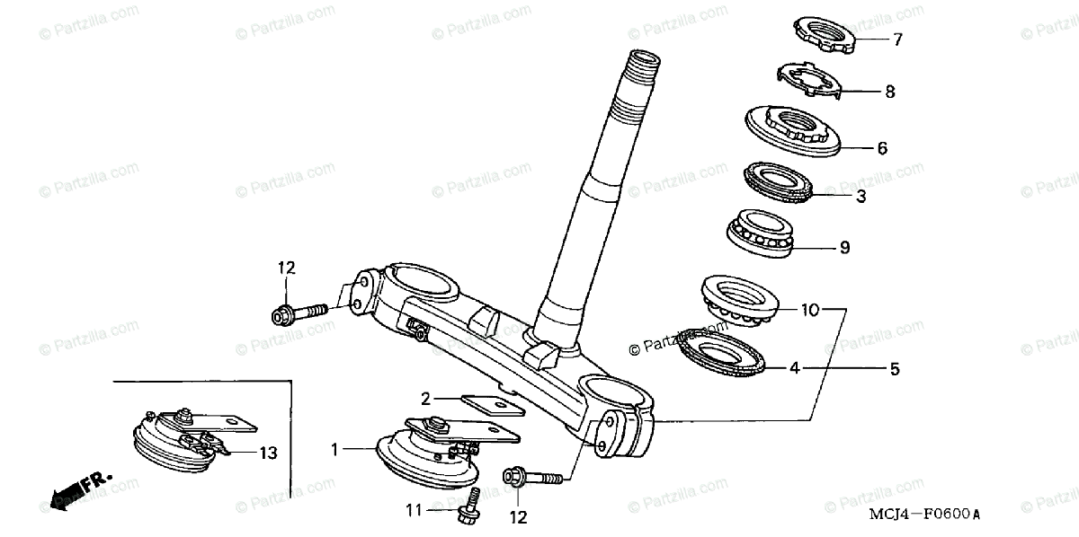 Honda Motorcycle 2002 OEM Parts Diagram for Steering Stem