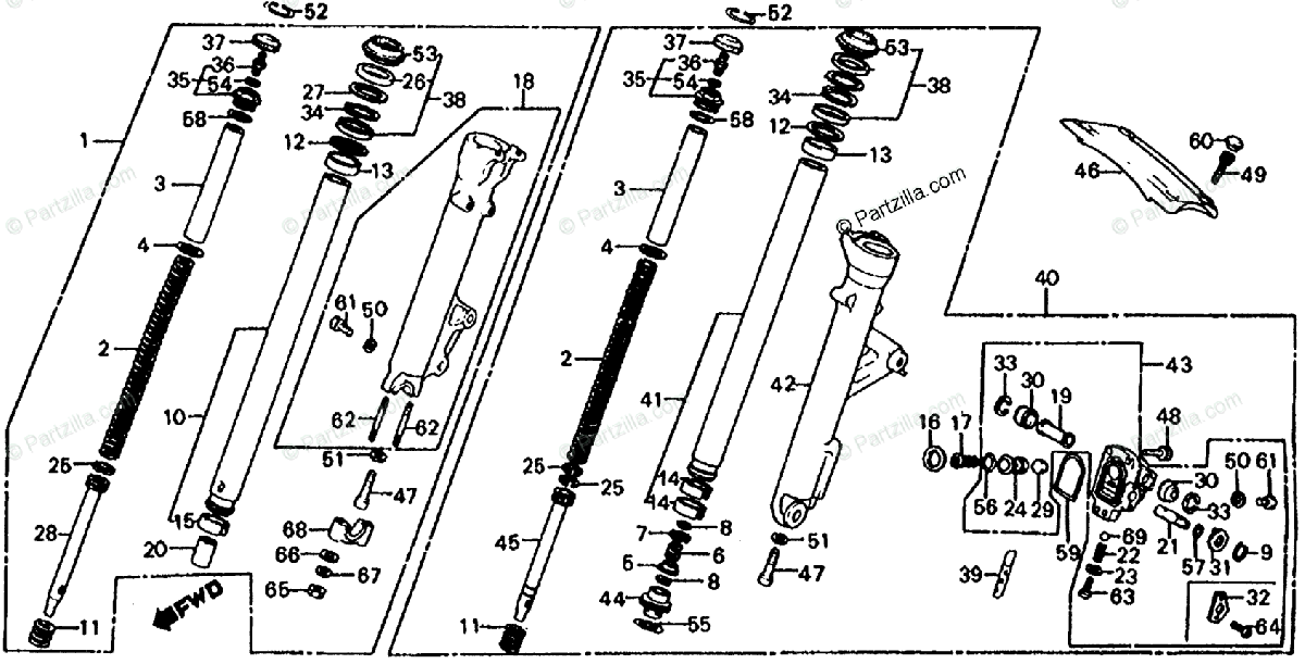 Honda Motorcycle 1982 OEM Parts Diagram for Front Shock