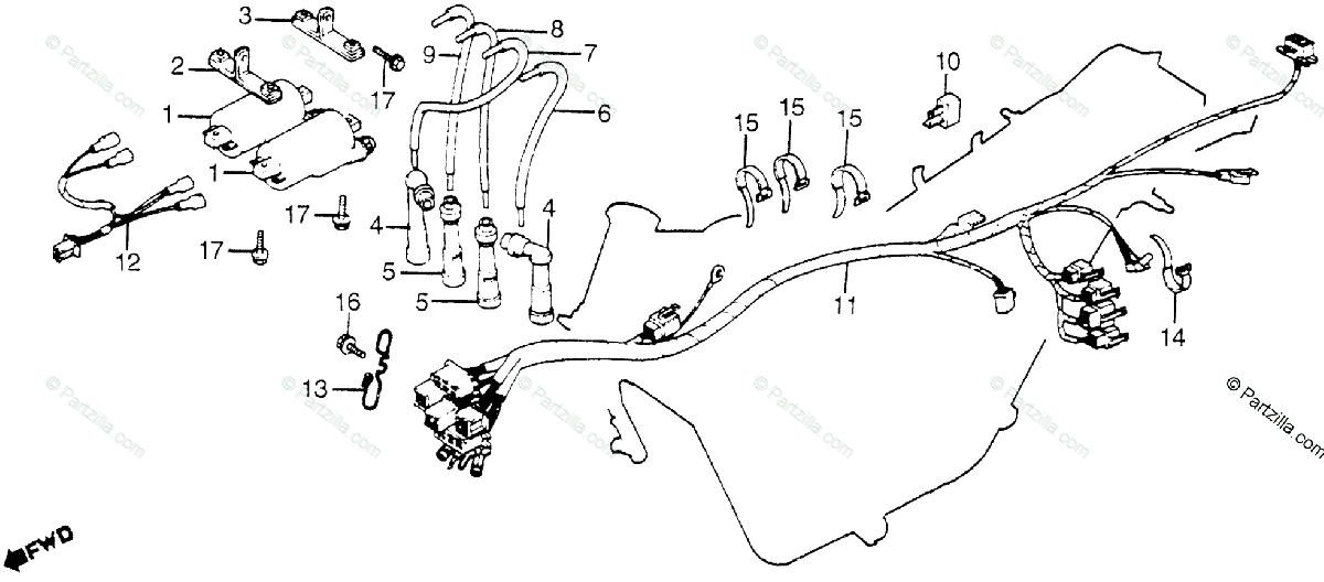 Honda Motorcycle 1982 OEM Parts Diagram for Wire Harness