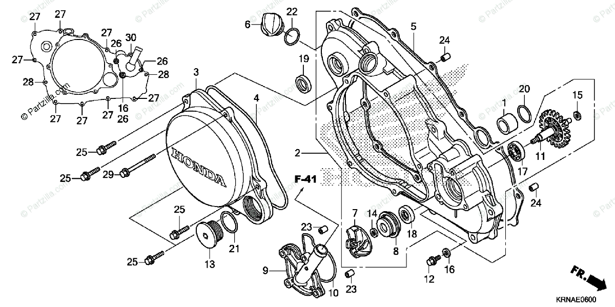 Honda Motorcycle 2011 OEM Parts Diagram for Right