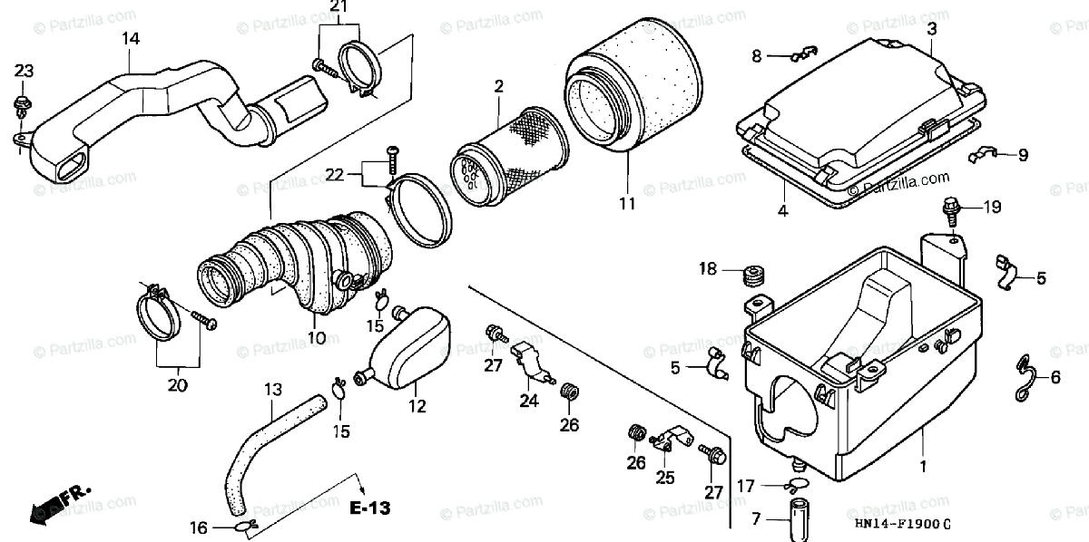 Honda ATV 2002 OEM Parts Diagram for AIR CLEANER
