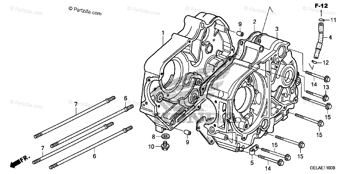 Honda Motorcycle 2005 OEM Parts Diagram for Crankcase