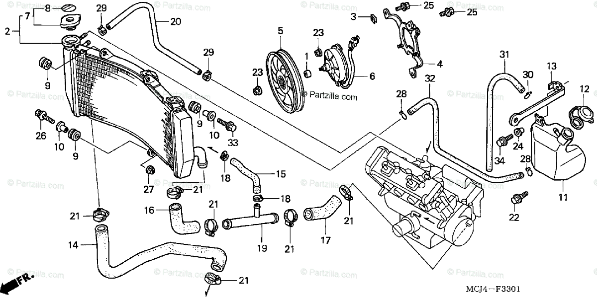 Honda Motorcycle 2002 OEM Parts Diagram for Radiator (2