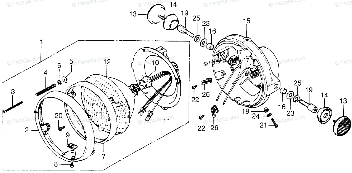 Honda Motorcycle 1978 OEM Parts Diagram for Headlight