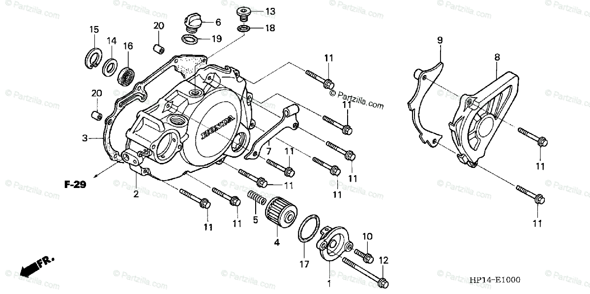 Honda ATV 2005 OEM Parts Diagram for Left Crankcase Cover
