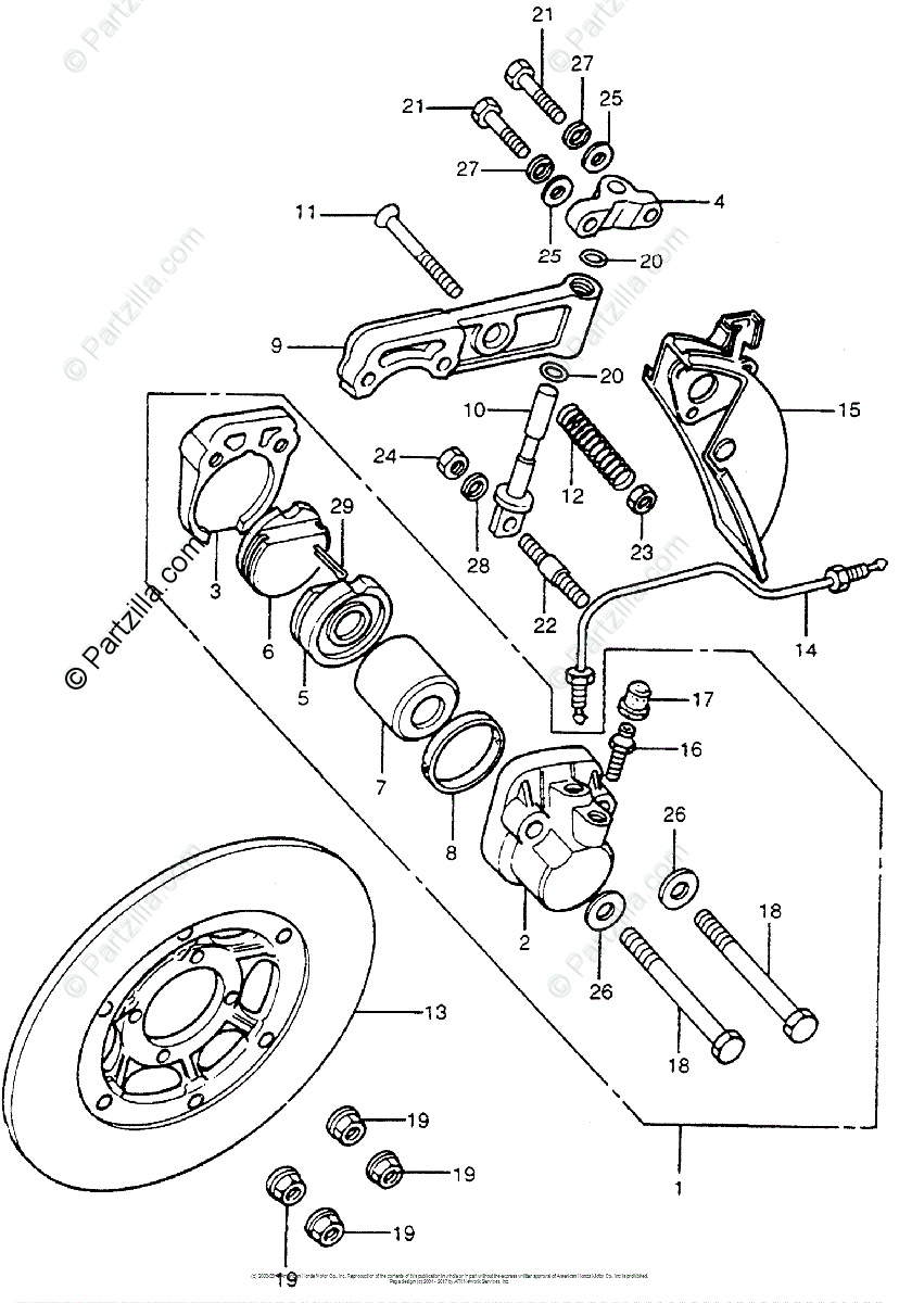 Honda Motorcycle 1976 OEM Parts Diagram for Front Brake