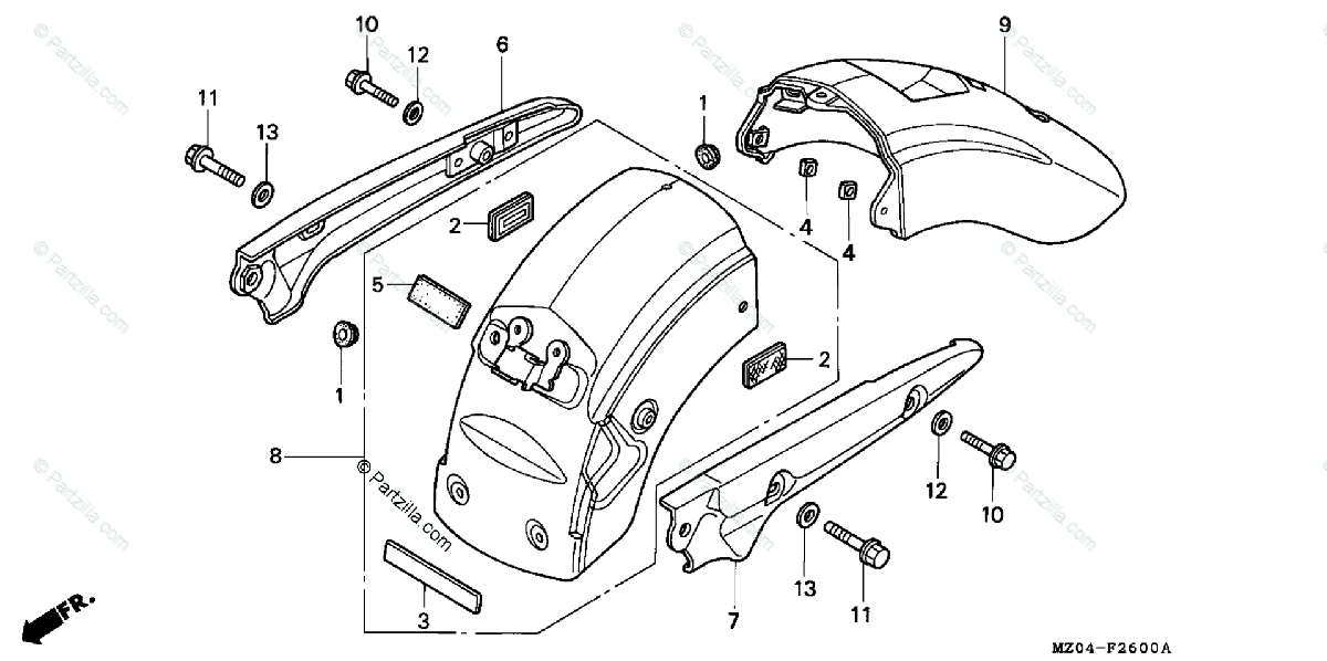 Honda Motorcycle 2003 OEM Parts Diagram for Rear Fender