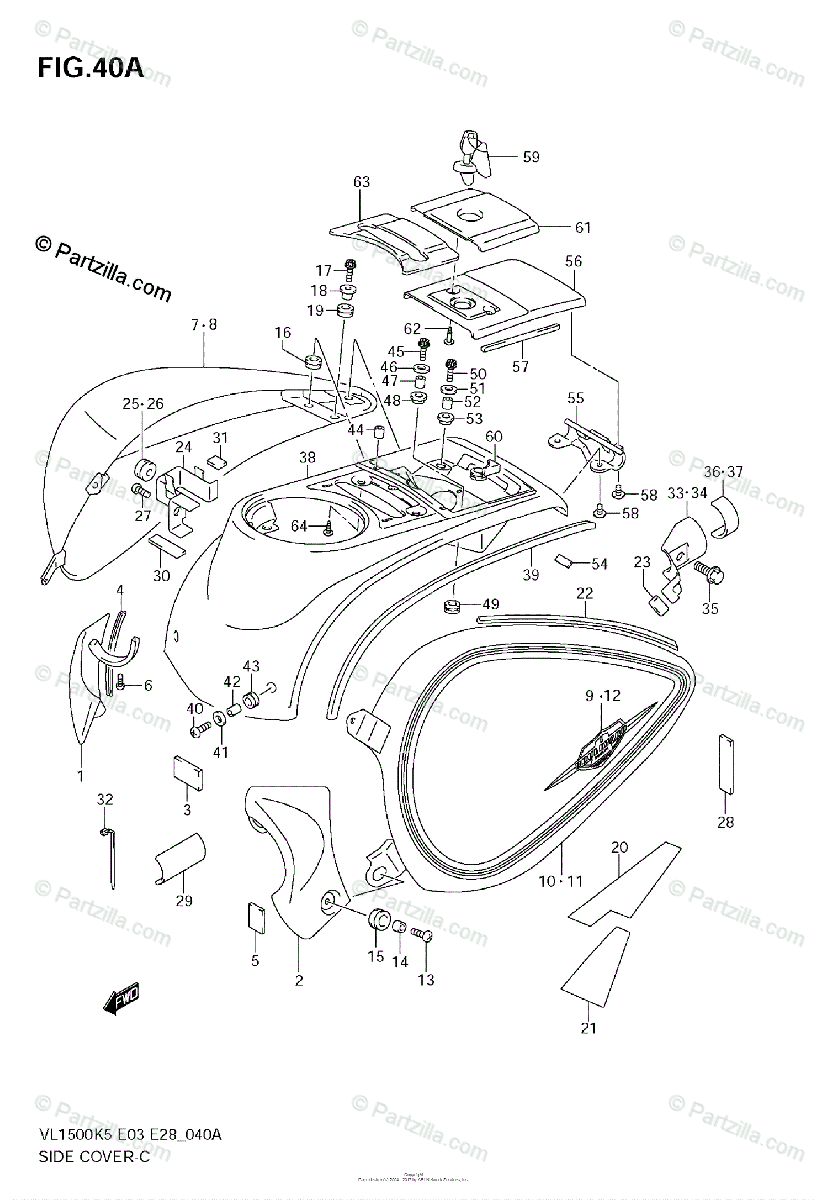 Suzuki Motorcycle 2005 OEM Parts Diagram for SIDE COVER