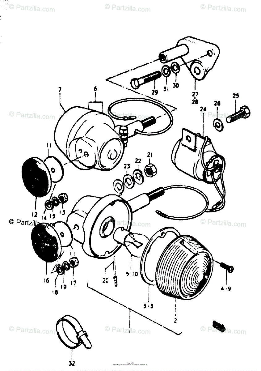 Suzuki Motorcycle 1975 OEM Parts Diagram for TURN SIGNAL