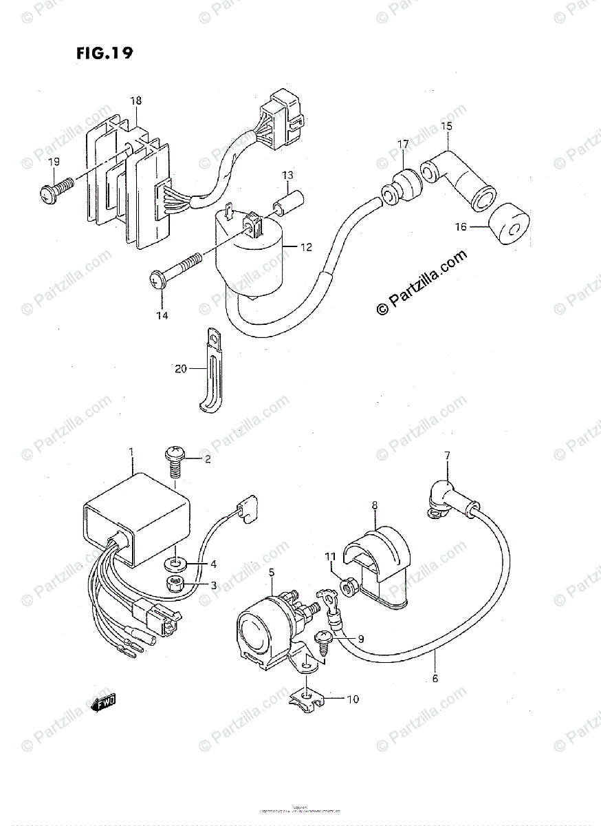 Suzuki ATV 1991 OEM Parts Diagram for Electrical