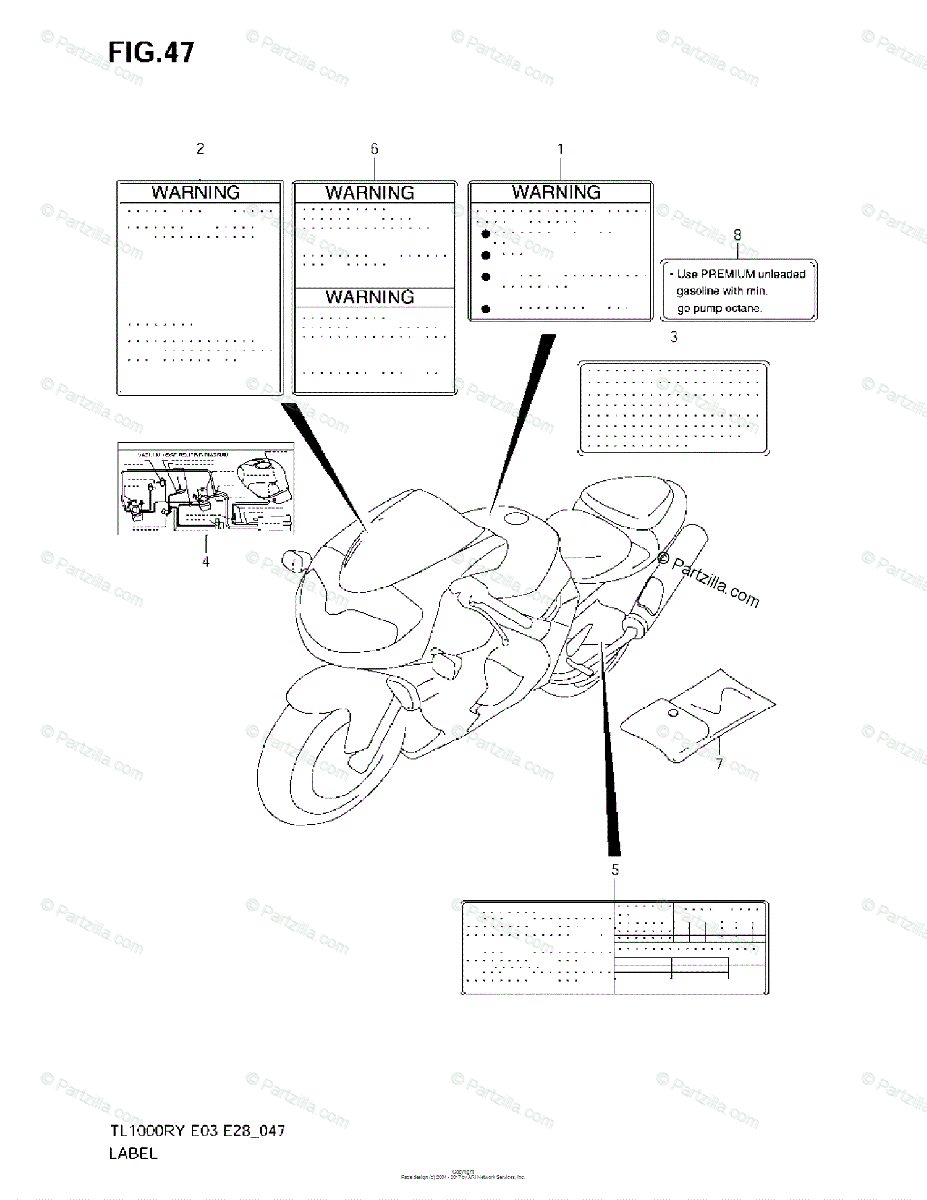 Suzuki Motorcycle 2002 OEM Parts Diagram for LABEL (MODEL
