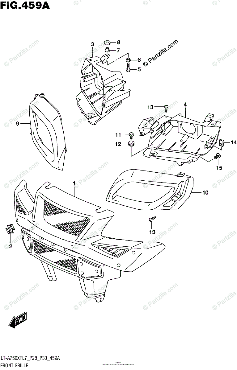 Suzuki ATV 2017 OEM Parts Diagram for Front Grille (LT