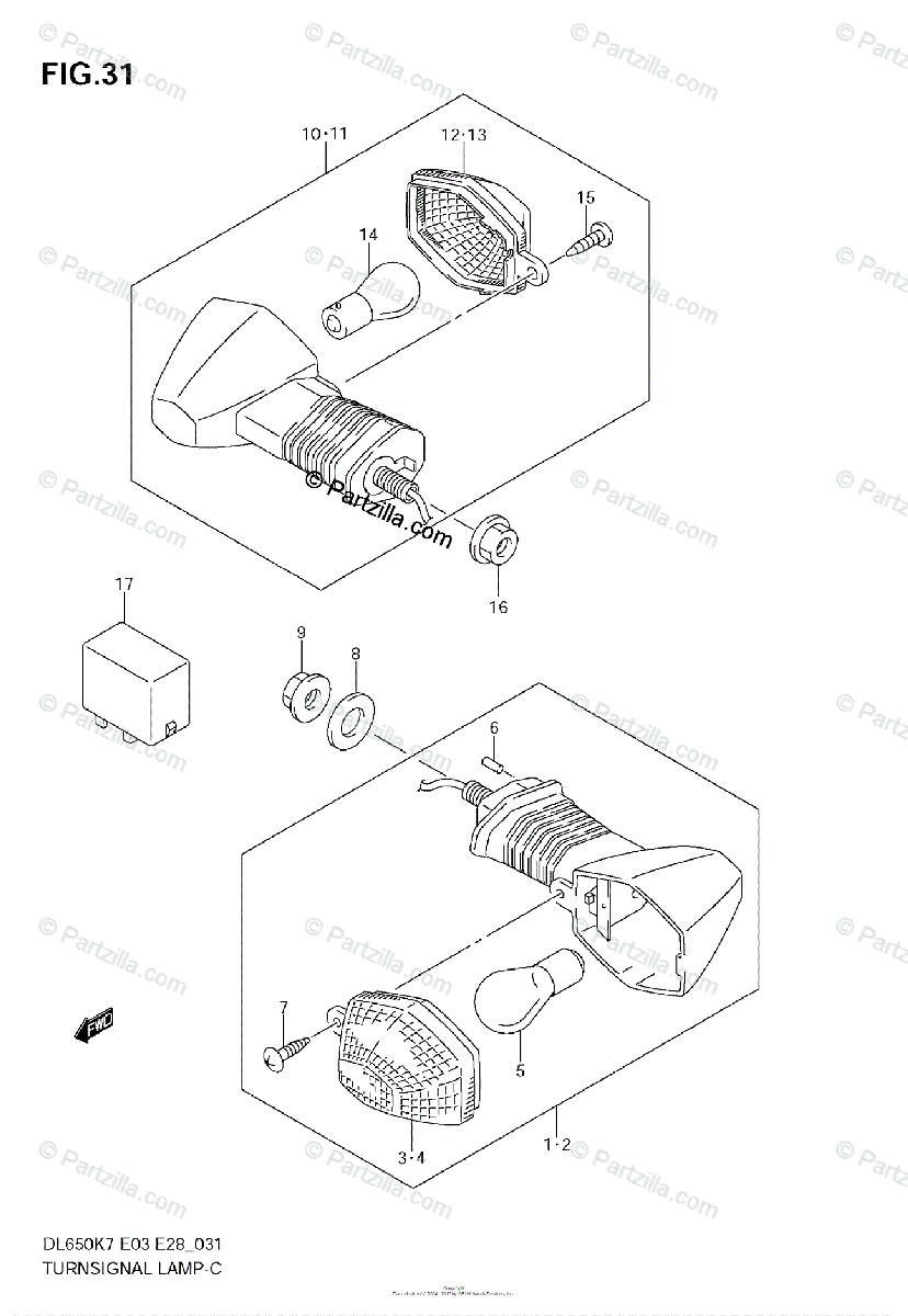 Suzuki Motorcycle 2008 OEM Parts Diagram for TURNSIGNAL