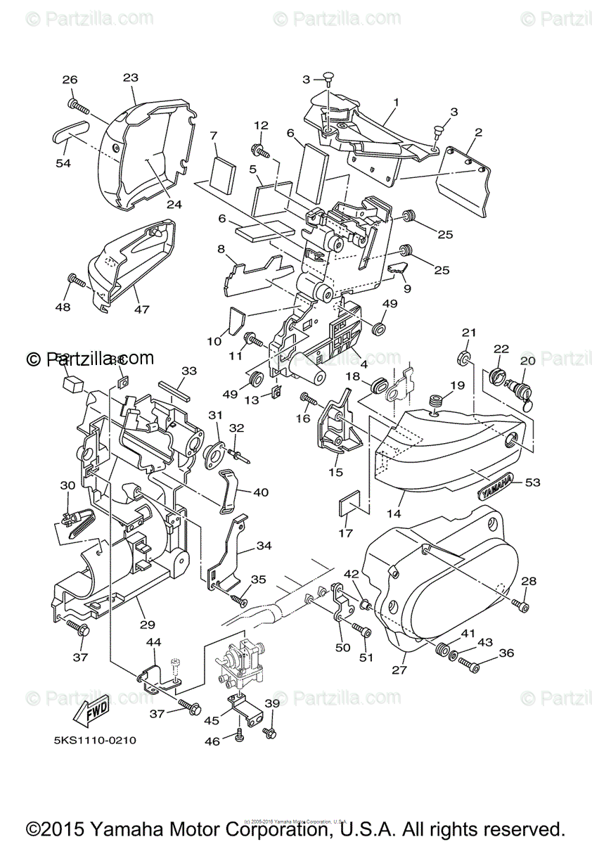 Yamaha Motorcycle 2000 OEM Parts Diagram for Side Cover