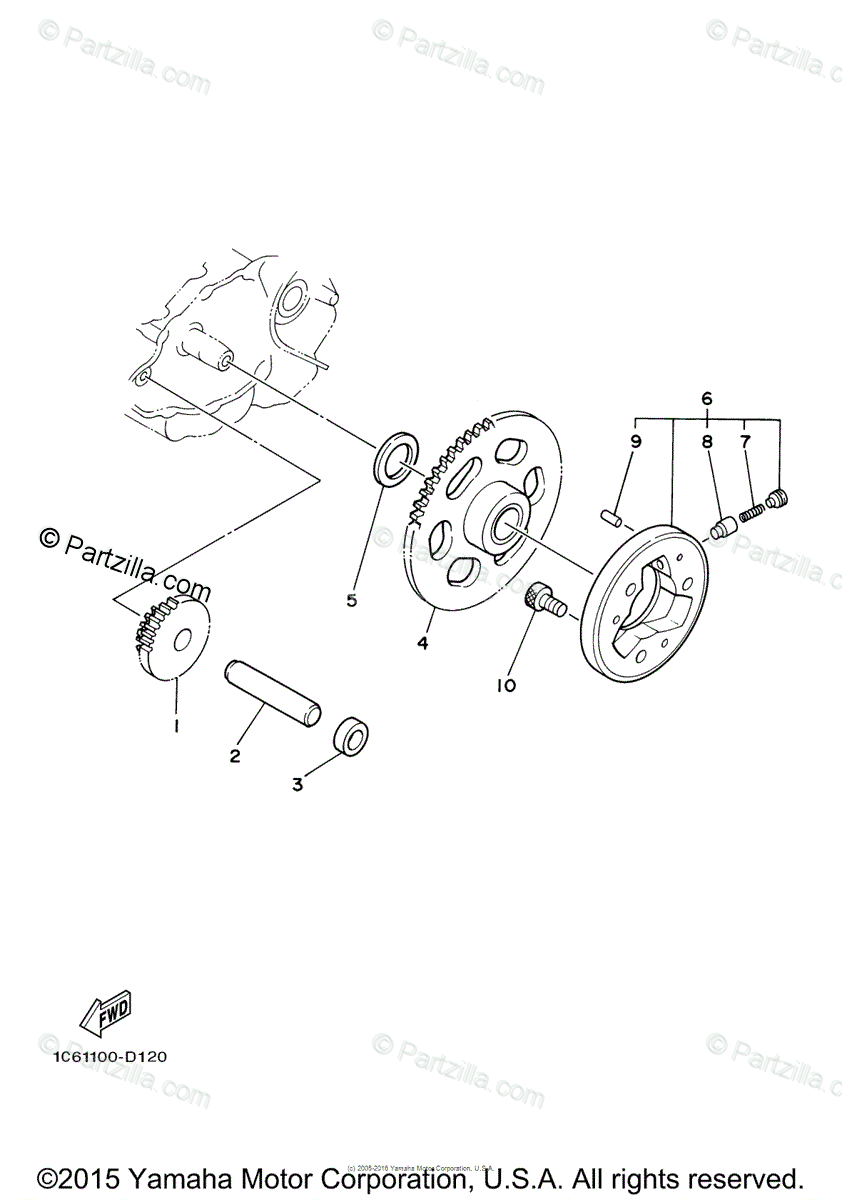 Yamaha Motorcycle 2015 OEM Parts Diagram for Starter