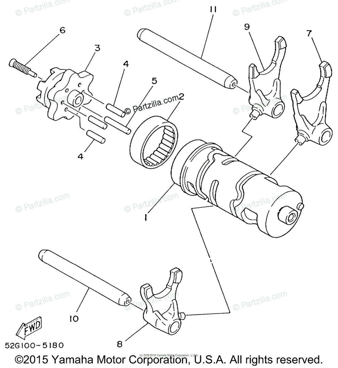 Yamaha ATV 2001 OEM Parts Diagram for Shift Cam & Fork