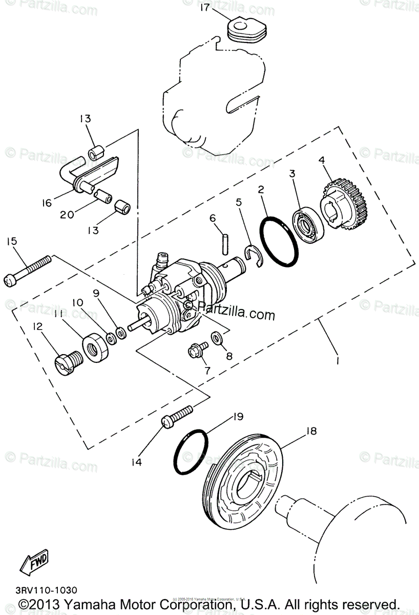 Yamaha Motorcycle 2002 OEM Parts Diagram for Oil Pump