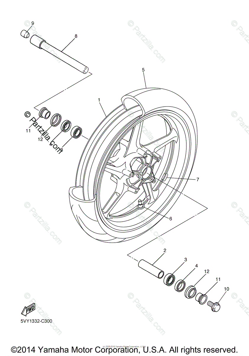 Yamaha Motorcycle 2005 OEM Parts Diagram for Front Wheel