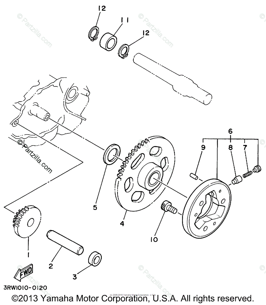 Yamaha Motorcycle 1999 OEM Parts Diagram for Starter