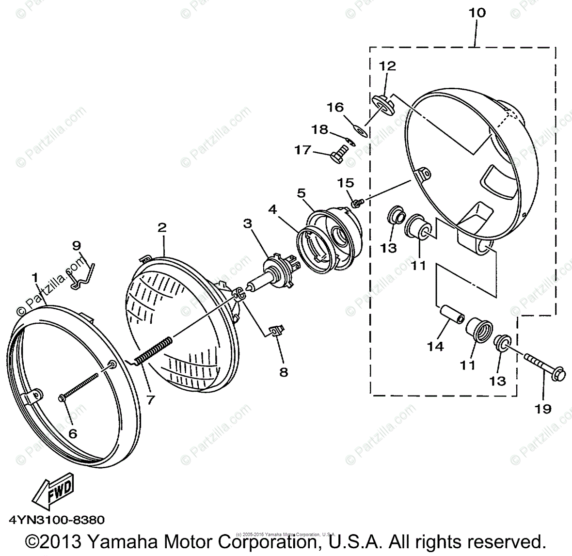 Yamaha Motorcycle Oem Parts Diagram For Headlight