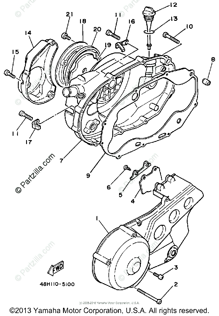 Yamaha Motorcycle 1985 OEM Parts Diagram for Crankcase