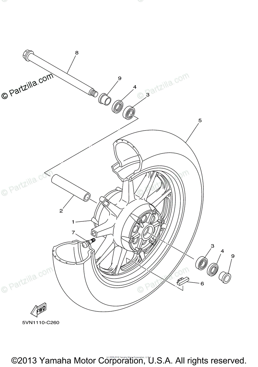 Yamaha Motorcycle 2004 OEM Parts Diagram for Front Wheel